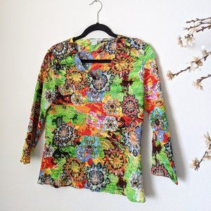 ALBERTO MAKALI Textured Bubble Top Colorful Large